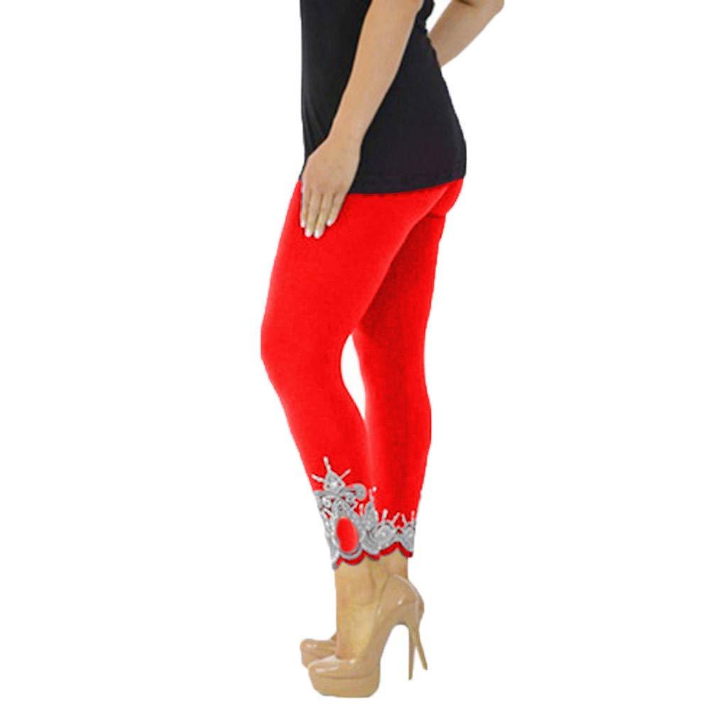 Pink Yoga Pants for Women, Fitness Leggings for Women High Waist Grey,Women Sport Yoga Print Workout Mid Waist Running Pants Fitness Elastic Leggings