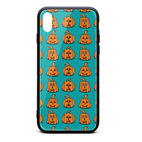 Textured Pumpkins Faces Phone Case for iPhone X, Slim Protection Art Line Design Cell Phone Protective Case ()