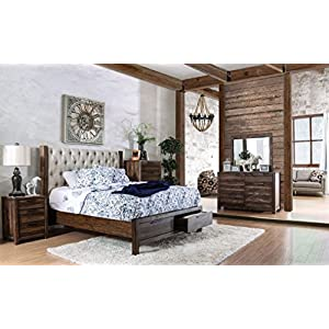 HUTCHINSON New Classic Look Rustic Natural Tone Solid Wood Wingback HB Tufted Upholstered California King Size Bed w…