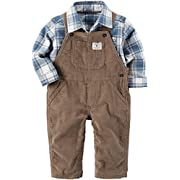 Carter's Baby Boys' 2 Piece Corduroy Overalls and Plaid Shirt Set 3 Months