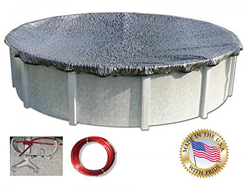 Enviro Mesh Silver Coated Winter Cover with 3-Foot Overlap for 12-Foot Round Above-Ground Swimming (Enviro Mesh Winter Cover)