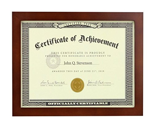 8.5x11 inch Brown Document Frame - Made to Display Certificates , Classic Style, Certificate Frames, Diploma Frames?Document Frames?(Brown)