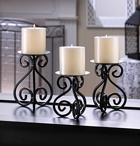 Tolbsplace Candleholders Black Scrollwork Pillar Candle Stands Set of 3 Iron Pedestals Varied ()