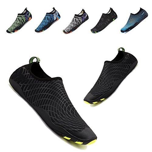 Yalox Men Womens Water Shoes Barefoot Quick Dry Aqua Shoes For Swimming Walking Yoga Beach Sports Surfing Black Net 45Eu