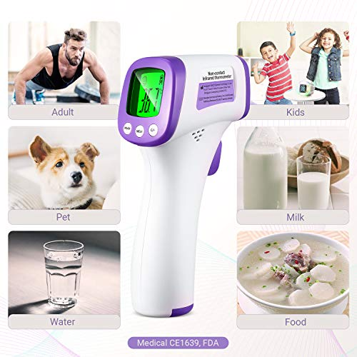 (US Stock) Thermometers, Medical Infrared Thermometer, Fever Alarm, 3-Color LCD Display, Digital Thermometer for Baby, Kids and Adult