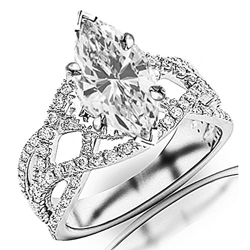 Love One Marquise Ring (1.25 Ctw 14K White Gold Eternity Love Twisting Split Shank Pave-set Round Ring w/ Marquise 0.5 Carat Forever One Moissanite Center)