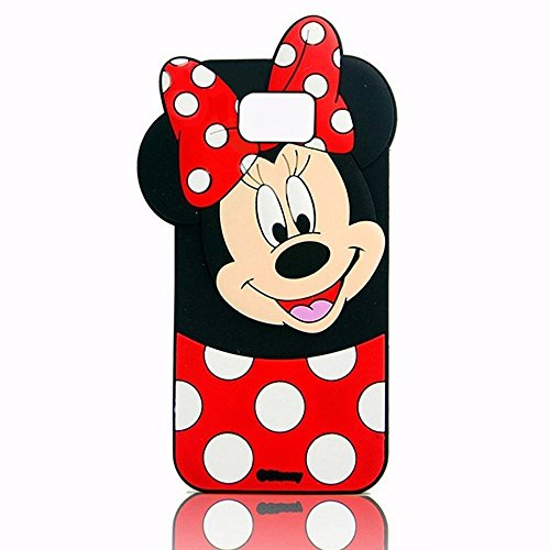 Galaxy S7 Edge Minnie Case,MODEFAN 3D Cartoon Animal Series Black Red Polka Dots Minnie Mouse Silicon Gel Rubber Protective Case Cover for Samsung Galaxy S7 Edge