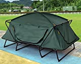 K&A Company Waterproof Folding Elevated Camping Tent with Carry Bag 420D PU Coated Oxford 2 Person New Outdoor Green