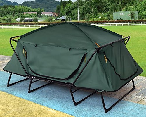 Ku0026A Company Waterproof Folding Elevated C&ing Tent with Carry Bag 420D PU Coated Oxford 2 Person New Outdoor Green & Ku0026A Company Waterproof Folding Elevated Camping Tent with Carry ...