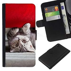 JackGot ( Gatito americano lindo ) Sony Xperia Z4v / Sony Xperia Z4 / E6508 la tarjeta de Crédito Slots PU Funda de cuero Monedero caso cubierta de piel