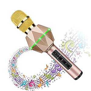 Bluetooth Karaoke Microphone for Kids Wireless Bluetooth Karaoke Machine with Speaker, Flash LED, Magic Voice, Aluminum Alloy Handle, Speaker,Compatible Android/PC and All Smart Phone(Gold)