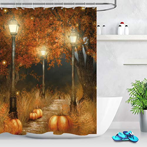 LB Fall Shower Curtain,Night Scenery with Sycamore Tree and Pumpkin Lights Funny Bathroom Decor,60x72 Inch Waterproof Anti Mildew Fabric with Hooks