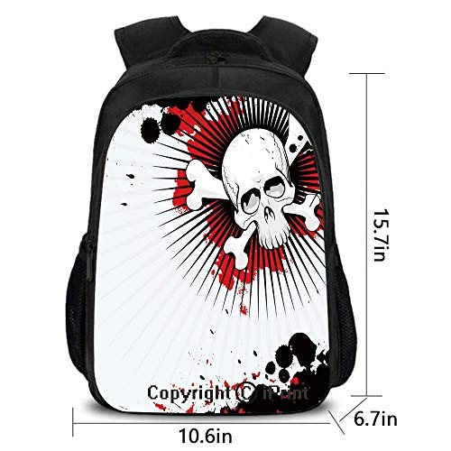 Men and Women Student Backpack,Skull with Crossed Bones Over Grunge Background Evil Scary Horror Graphic,School Bag :Suitable for Men and Women,School,Travel,Daily use,etc.Pearl Red Black ()