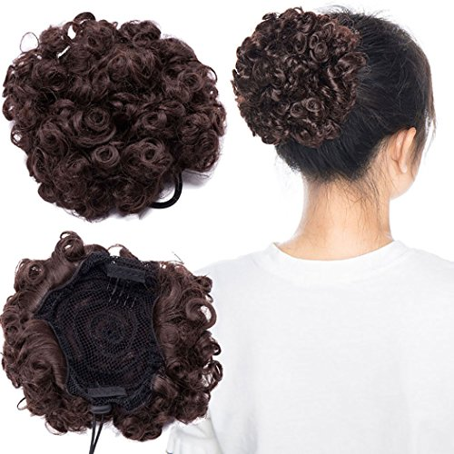 Short Curly Hair Ponytail Scrunchie African American Afro Kinky Curly Wrap...