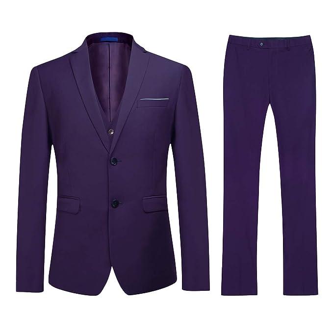 YOUTHUP Traje de Negocios Formal de 3 Piezas para Hombre Morado Purple(2 Button) XL