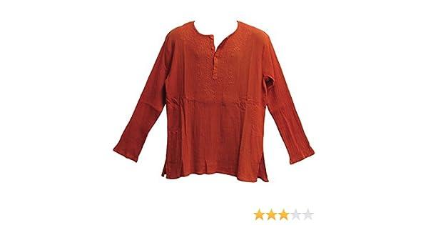 7e0e0d321ce Amazon.com: Yoga Trendz Mens Indian Bohemian Crinkled Gauze Cotton  Embroidered Tunic Shirt Kurta Rust Orange: Clothing