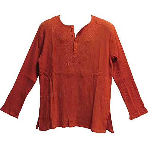 Mens Indian Bohemian Crinkled Gauze Cotton Embroidered Tunic Shirt Kurta Rust Orange (Large) by Yoga Trendz