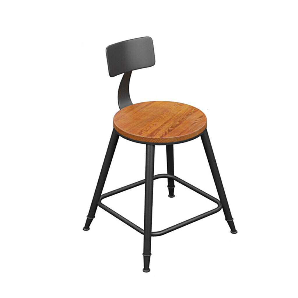Wood 45 Bar Stool Bar Stool Modern Minimalist European High Chair Solid Wood Wrought Iron Table and Chairs Bar Stool with Backrest Two Types (color   Leather, Size   45)