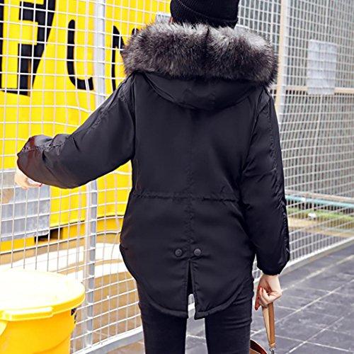 Puffer Cappuccio Outwear Nero Più Lammy Coulisse Di Parka Autunno Riempito Cappotto Il Signore vento Donne Rifilati Casuali Spessi Solido Giacca Artificiali Inverno Dimagrire Pellicce nYXg7ga