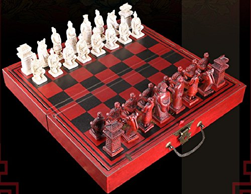 (initiative letter Terracotta Warriors Style Chess with Board and Pieces Can Folding and Storage Hand Crafted Wood Tactics)