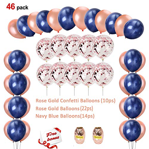 Sorive Navy Blue and Rose Gold Confetti Balloons Party Decoration for Valentines Bridal Shower Wedding Engagement Sweet 16 Birthday Graduation Supplies (46 Pack)