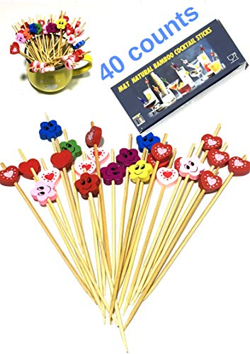 M&T Cocktail Sticks 40 Sets 15cm/ 4.7inch toothpicks Cocktail Picks Handmade Natural Bamboo Toothpicks Skewers Food Wrap Halloween Heart BBQ Drink Organizer For Birthday Party Appetizer Party Colorful