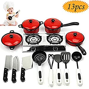 Grocery House Kitchen Pretend Toys, 13Pcs Child Cooking Toy Kids Play Kitchen Sets Home Cooking Role Play Toys Cooking…