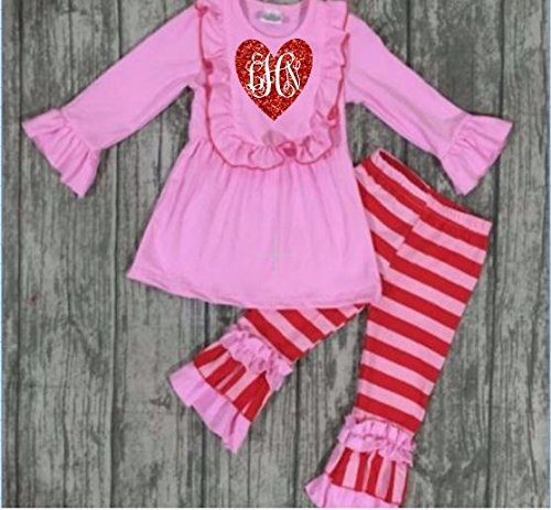 da5454a74 Amazon.com: Girls Monogrammed Valentines Outfit-Heart Outfit: Handmade