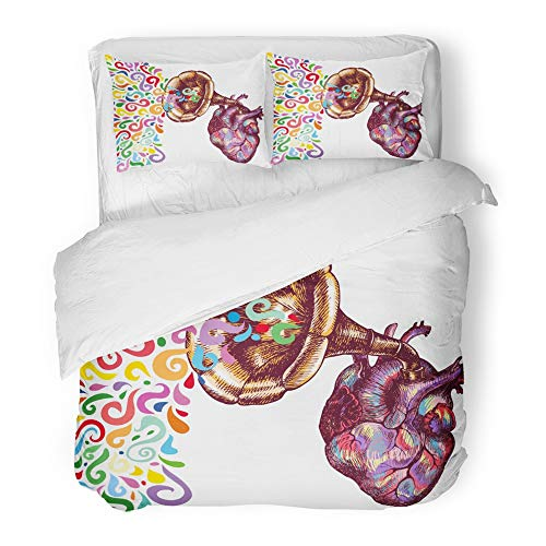 Emvency Decor Duvet Cover Set Full/Queen Size Colorful Anatomy Music of The Heart Symbolic with Human and Gramophone Tube Artistic 3 Piece Brushed Microfiber Fabric Print Bedding Set Cover -