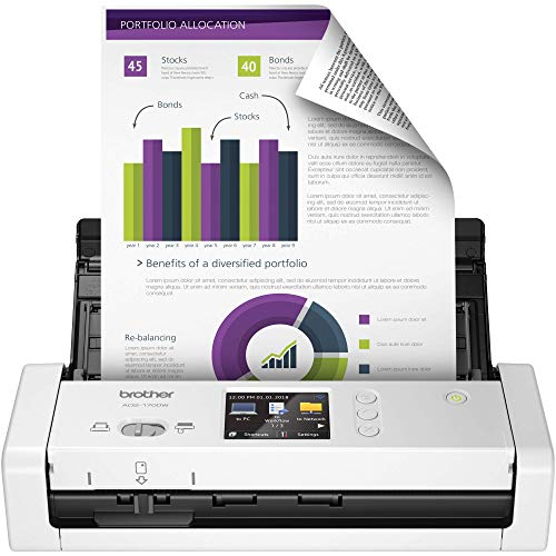 Brother Wireless Compact Desktop Scanner, ADS-1700W, Fast Scan Speeds, Easy-to-Use, Ideal for Home, Home Office or On-the-Go Professionals (Renewed)