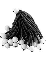 HOIGON 150 Pack 6 Inch Ball Bungee Cords with Black Stretch Rope and Heavy Duty White Bungee Ball, Weather Proof and Durable Tarp Tie Down Cord for Canopy, Tarp, Tent, Fixed Things
