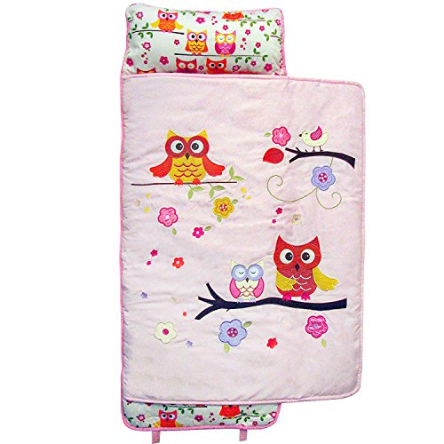 SoHo Nap Mat , Pink Dancing Owls (All Hand Embroidery)