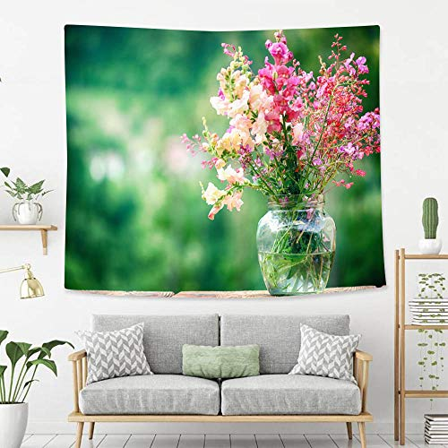 BEIVIVI Creative Custom Tapestry Wildflowers in a Glass Vase Over Green Background Wall Tapestry with Art Nature Home Decorations