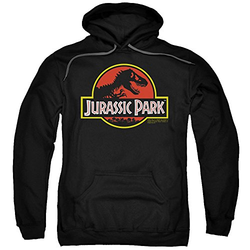Jurassic Park Dinosaur Thriller Movie Classic Logo Adult Pull-Over Hoodie Black