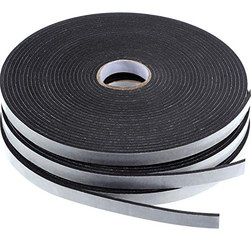 Tatuo Double Sided Foam Mounting Tape Foam Adhesive Tape Foam Seal Tape, 1/8 Inch Thick Foam Seal Strip, 3 Rolls (1/2 Inch Wide by 32.8 Feet Long Each Roll)