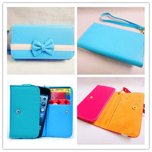 Bowknot Bow Girl Cute lovely Leather Wallet Purse Flip Smart-Phone Wristlet Clutch Leather Wallet Case Cover for smart Mobile Cell Phone(ZTE Zinger / Whirl 2 / Prelude 2 Z667 Phone)