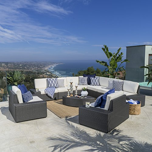 Sheridan Outdoor Wicker Sectional w/Water Resistant Cushions (10, Grey/White)