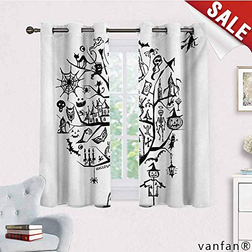 Big datastore Pattern DIY Available Curtain,Halloween,Sketchy Spooky Tree with Spooky Design Objects and Wicked Witch Broom Abstract,with Solid Grommet Top,Black White,W63 Xl45]()