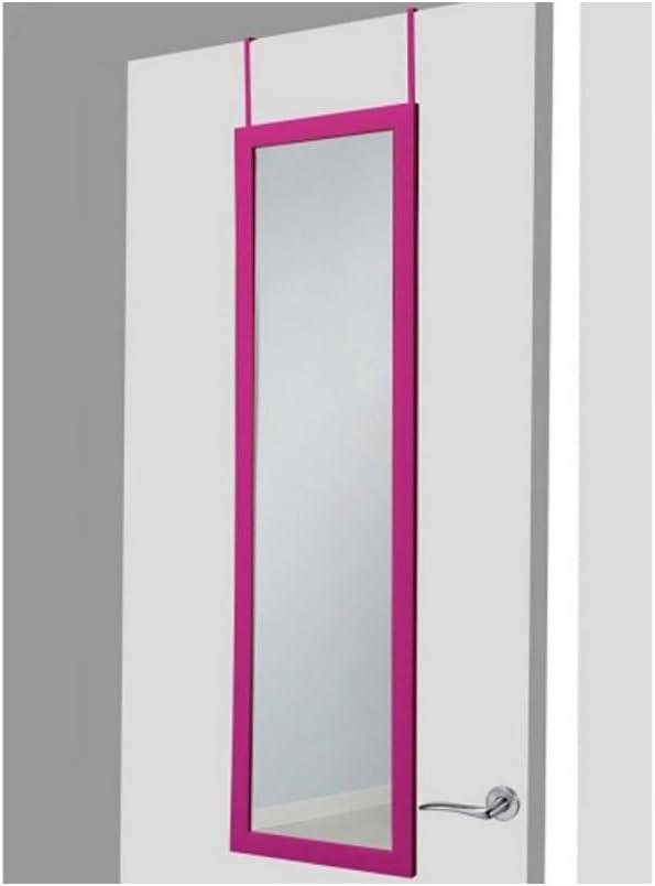 UNIMASA Espejo para Puerta Moderno, Color Fucsia, para Dormitorio, sin Agujeros (34,7cm X 1,5cm X 125cm) - Hogar y Más