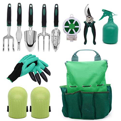 Steel Digging Fork (Garden Tool Set Gardening Bag Accessories 12 Pieces Kit/Home & Gardening Kneeler Pad/Stainless steel Hand Digging Tools Pruner, Shovel, Fork, Rake, Shears, Weeder, Gloves, Water Sprayer, Plant Rope)