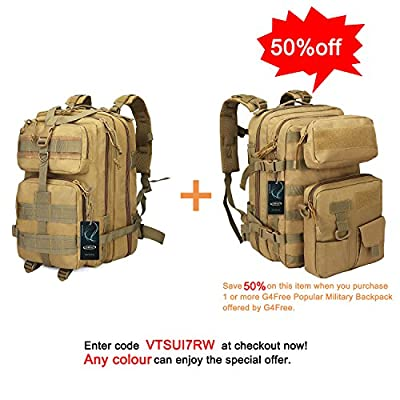 G4Free 40L EDC Tactical backpack Multi-functional Outdoor Molle bag Heavy Duty Shoulder pack Military Rucksack 3 Day Assault Bug out Bag With Two Detachable Bag for school Camping Trekking