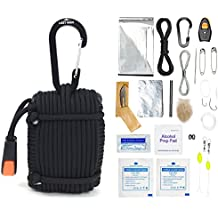 26 Piece Paracord Survival Kit with Thermal Blanket, Fishing Kit, Fire Starter, First Aid, Gear Repair, Emergency Whistle, and More!