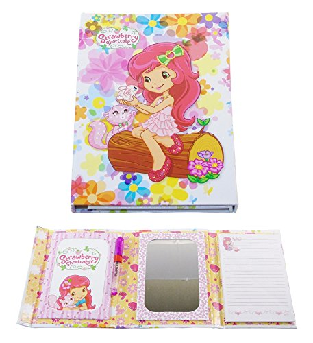 Strawberry Shortcake Tri-Fold Vanity Mirror and Memo Pad - Kitty and Bunny with Rainbow Floral.