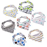 GHB Baby Bibs 7-Pack Toddler Bandana Bibs Baby Dribble Bibs Absorbent 100% Cotton with Adjustable Snaps for Boys and Girls