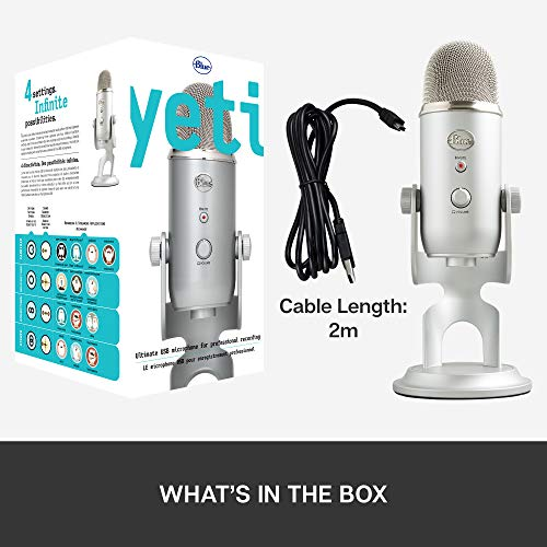 Blue Yeti USB Mic for Recording and Streaming on PC and Mac, 3 Condenser Capsules, 4 Pickup Patterns, Headphone Output and Volume Control, Mic Gain Control, Adjustable Stand, Plug and Play (Silver)
