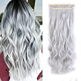 Sexybaby Synthetic Hair Extensions Hair-pieces Clip-in 24 Inches Curly Half Full Head with 5 Clips (Silver Grey,140G)