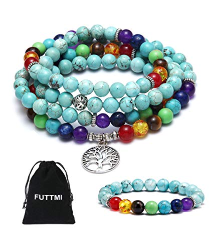 FUTTMI 8mm 108 Mala Beads Necklace and Bracelet with 7 Chakra Bracelet & Tree of Life Pendant -Chakra Bracelet Yoga Charm Bracelet Natural Gemstone Jewelry for Women Men ()