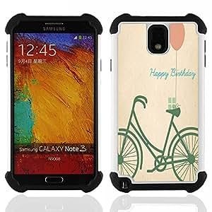 /Skull Market/ - Bicycle Retro For Samsung Galaxy Note3 N9000 N9008V N9009 - 3in1 h????brido prueba de choques de impacto resistente goma Combo pesada cubierta de la caja protec -