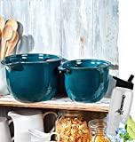 Gift Included- Country Farmhouse Kitchen Oversized Mixing Bowls Set of 2 Blue + FREE Bonus Water Bottle by Home Cricket Homecricket