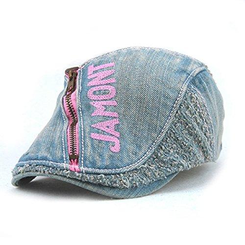 Jamont Women's Summer Casual Denim Cotton Sun Visor Hat Beret Newsboy Cap